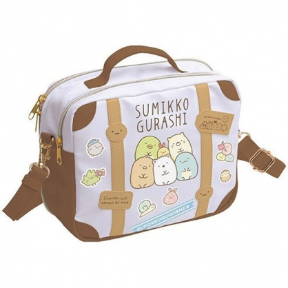 小禮堂 角落生物 斜背包 皮質 雙層 手提包 側背包 玩偶收納包 (棕紫 手提箱)