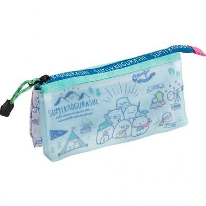 小禮堂 角落生物 拉鍊筆袋 尼龍 三角形 雙層 化妝包 收納包 鉛筆盒 (藍綠 露營)