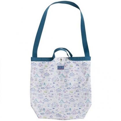 小禮堂 角落生物 側背袋 尼龍 直式 手提袋 肩背袋 斜背袋 書袋 (藍 露營)