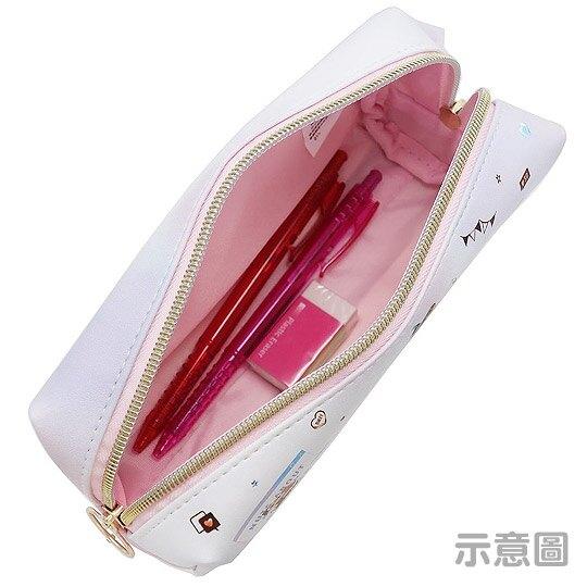 小禮堂 迪士尼 奇奇蒂蒂 拉鍊筆袋 皮質 雙層 化妝包 收納包 鉛筆盒 (粉白 文字)