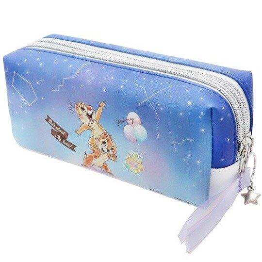 小禮堂 迪士尼 奇奇蒂蒂 拉鍊筆袋 皮質 雙層 化妝包 收納包 鉛筆盒 (深藍 星空)