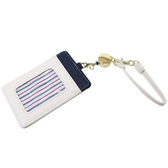 小禮堂 史努比 票卡夾 皮質 伸縮易拉扣 證件夾 車票夾 卡套 (米藍 三隻)