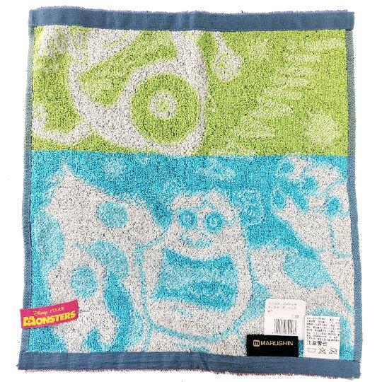 小禮堂 迪士尼 怪獸大學 短毛巾 方形毛巾 純棉 無捻紗 丸真毛巾 34x36cm (藍綠 吼叫)