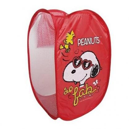 小禮堂 史努比 折疊洗衣籃 收納籃 污衣籃 儲物籃 置物籃 透氣網狀 (紅 墨鏡)
