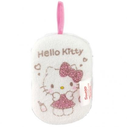 小禮堂 Hello Kitty 沐浴澡棉 洗臉海綿 洗澡海棉 潔顏海棉 搓澡巾 (白 豹紋洋裝)