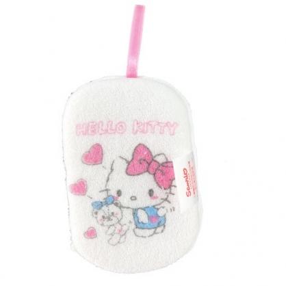 小禮堂 Hello Kitty 沐浴澡棉 洗臉海綿 洗澡海棉 潔顏海棉 搓澡巾 (白 愛心小熊)
