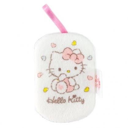 小禮堂 Hello Kitty 沐浴澡棉 洗臉海綿 洗澡海棉 潔顏海棉 搓澡巾 (白 愛心圍繞)