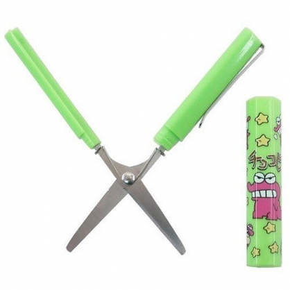 小禮堂 蠟筆小新 攜帶式剪刀 筆型剪刀 事務剪 事務用品 (綠桃 鱷魚)