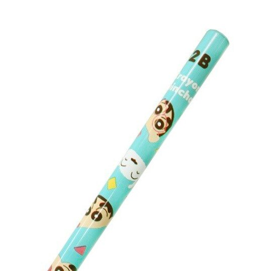 小禮堂 蠟筆小新 日製 鉛筆組 圓桿鉛筆 2B鉛筆 學童文具 (4入 綠 大臉)
