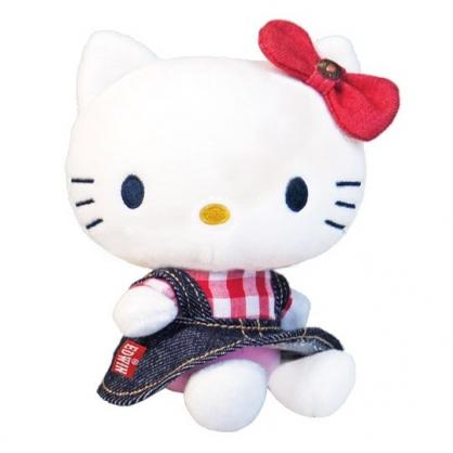小禮堂 Hello Kitty x EDWIN 迷你 沙包玩偶 絨毛 娃娃 布偶 玩具 (深藍紅)