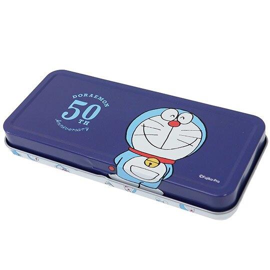 小禮堂 哆啦A夢 日製 鐵筆盒 掀蓋 鉛筆盒 筆袋 收納盒 (藍白 滿版)