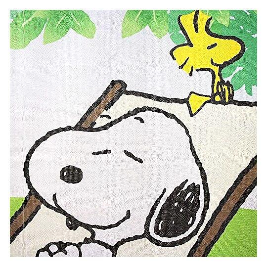 小禮堂 史努比 日製 長門簾 棉麻 布簾 窗簾 壁掛裝飾 85x150cm (綠 躺椅)