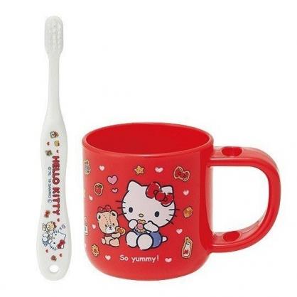 小禮堂 Hello Kitty 兒童牙刷 漱口杯 牙刷杯組 附牙刷蓋 盥洗用品 3-5歲適用 (紅 餅乾)