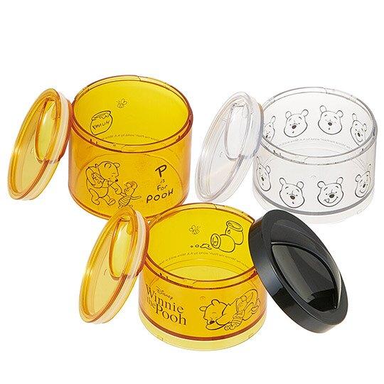 小禮堂 迪士尼 小熊維尼 日製 保鮮罐 圓形塑膠 三層 便當盒 餐盒 食物盒 (3入 黃黑 睡覺)