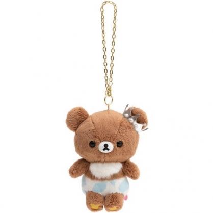小禮堂 懶懶熊 絨毛吊飾 娃娃 布偶 玩具 吊飾 掛飾 鑰使圈 鎖圈 (棕藍 點點褲)
