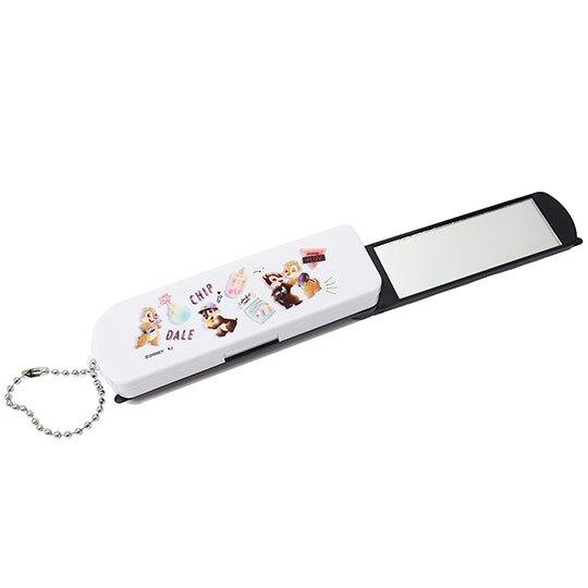 小禮堂 迪士尼 奇奇蒂蒂 日製 鏡梳組 隨身鏡 折疊梳 扁梳 鏡子 梳子 掛飾 (黑白 背包)