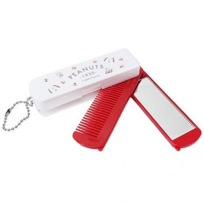小禮堂 史努比 日製 鏡梳組 隨身鏡 折疊梳 扁梳 鏡子 梳子 掛飾 (紅白 愛心)