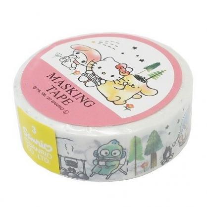 小禮堂 Sanrio大集合 紙膠帶 裝飾膠帶 膠布 禮物包裝 15mmx10m (粉白 看書)