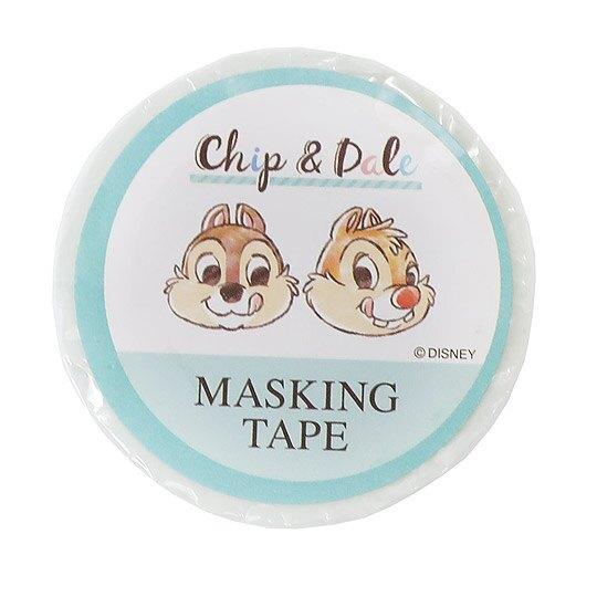 小禮堂 迪士尼 奇奇蒂蒂 紙膠帶 裝飾膠帶 膠布 禮物包裝 15mmx10m (綠白 大臉)