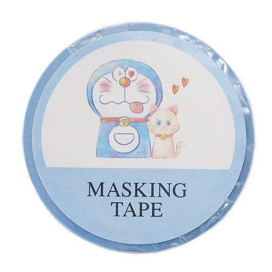 小禮堂 哆啦A夢 紙膠帶 裝飾膠帶 膠布 禮物包裝 15mmx10m (藍白 貓咪)