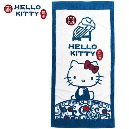 小禮堂 Hello Kitty x 故宮博物院 浴巾 毛巾 純棉 割絨 76x152cm (藍綠)