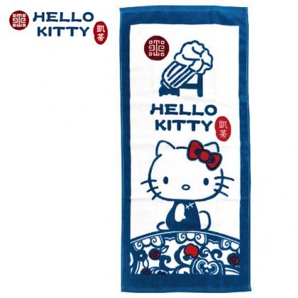 小禮堂 Hello Kitty x 故宮博物院 長毛巾 長巾 純棉 割絨 33x76cm (M 藍綠)