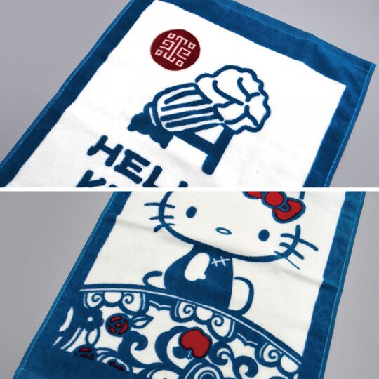 小禮堂 Hello Kitty x 故宮博物院 長毛巾 長巾 純棉 割絨 33x76cm (M 藍綠)