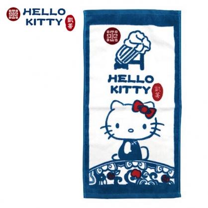 小禮堂 Hello Kitty x 故宮博物院 兒童毛巾 長毛巾 純棉 割絨 28x54cm (S 藍綠)