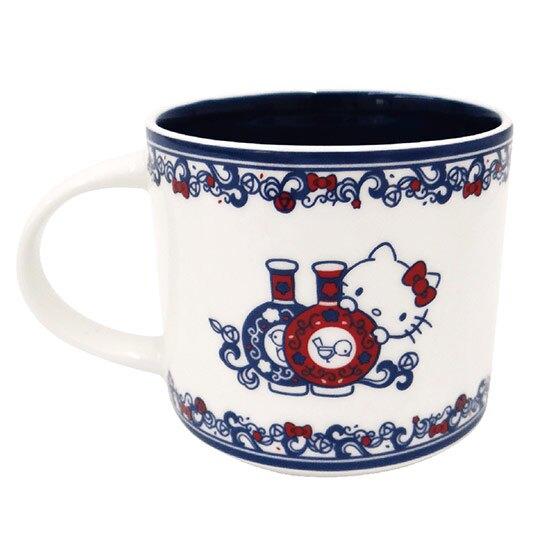 小禮堂 Hello Kitty x 故宮博物院 馬克杯 陶瓷杯 寬口杯 疊疊杯 咖啡杯 (藍白)