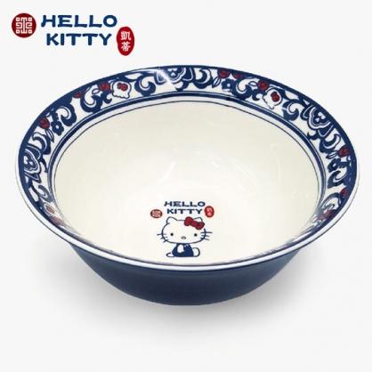 小禮堂 Hello Kitty x 故宮博物院 陶瓷碗 拉麵碗 泡麵碗 碗公 湯碗 飯碗 (藍白)