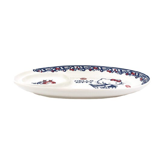 小禮堂 Hello Kitty x 故宮博物院 餃子盤 陶瓷盤 橢圓形 點心盤 菜盤 沙拉盤 (藍白)