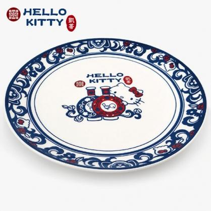 小禮堂 Hello Kitty x 故宮博物院 陶瓷盤 圓盤 淺盤 菜盤 沙拉盤 點心盤 (藍白)