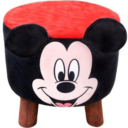 小禮堂 迪士尼 米奇 造型耳朵絨毛圓凳椅 矮凳 矮腳椅 板凳 (黑)