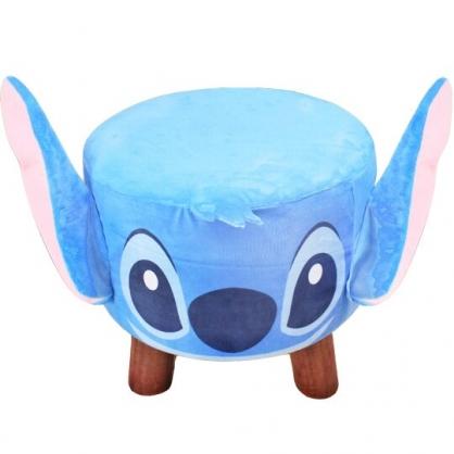 小禮堂 迪士尼 史迪奇 造型耳朵絨毛圓凳椅 矮凳 矮腳椅 板凳 (藍)