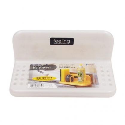 小禮堂 日本INOMATA 日製 吸盤式菜瓜布架 L型收納架 塑膠瀝水架 瓶罐架 (白)