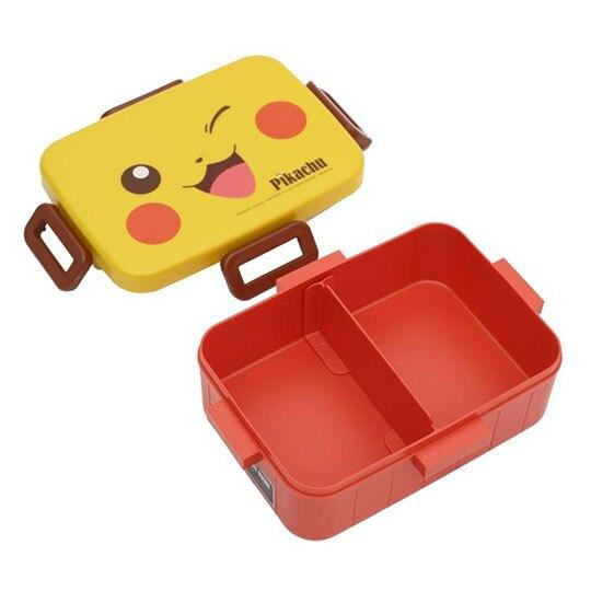 小禮堂 神奇寶貝 日製 方形四扣微波便當盒 塑膠便當盒 保鮮盒 650ml (黃橘 大臉)