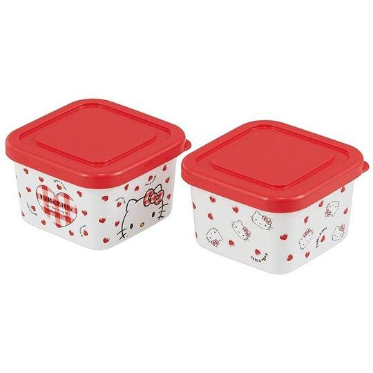 小禮堂 Hello Kitty 日製 迷你方形保鮮盒 塑膠保鮮盒 便當盒 180ml  (2入 紅白 愛心)