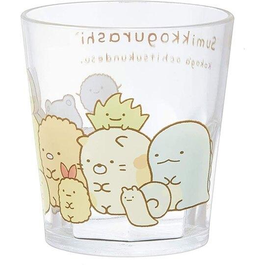小禮堂 角落生物 無把塑膠杯 透明杯 壓克力杯 兒童水杯 280ml (白 排坐)