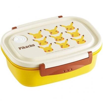 小禮堂 神奇寶貝 日製 方形雙扣輕量微波便當盒 塑膠便當盒 保鮮盒 720ml (米黃 大臉)