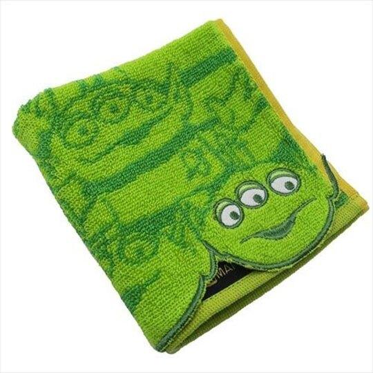 小禮堂 迪士尼 三眼怪 純棉無捻紗方巾 手帕 小毛巾 25x25cm (綠 大臉)