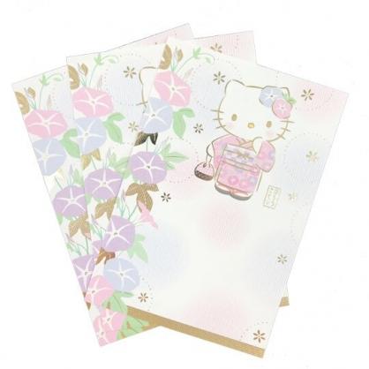 小禮堂 Hello Kitty 日製 燙金明信片卡片 萬用卡片 賀卡 (3入 粉 和服)