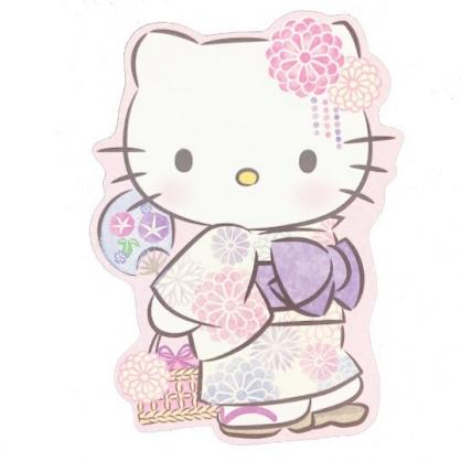 小禮堂 Hello Kitty 日製 造型萬用卡片 明信片 賀卡 (粉紫 和服)