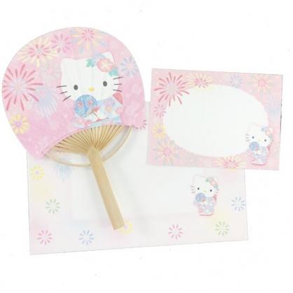 小禮堂 Hello Kitty 日製 圓形竹扇萬用卡片 紙扇 明信片 賀卡 (粉)