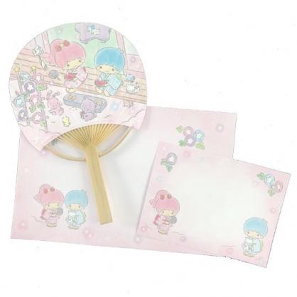 小禮堂 雙子星 日製 圓形竹扇萬用卡片 紙扇 明信片 賀卡 (粉)