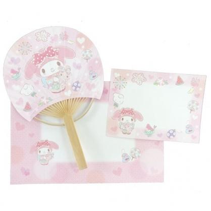 小禮堂 美樂蒂 日製 圓形竹扇萬用卡片 紙扇 明信片 賀卡 (粉)