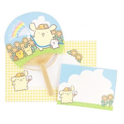 小禮堂 布丁狗 日製 圓形竹扇萬用卡片 紙扇 明信片 賀卡 (藍黃)