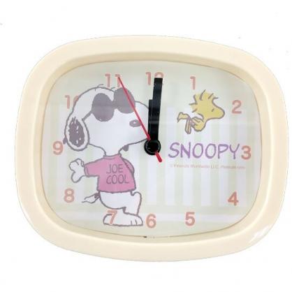 小禮堂 史努比 方型塑膠鬧鐘 桌鐘 時鐘 (黃 墨鏡)