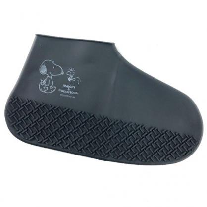 小禮堂 史努比 攜帶型矽膠鞋套 防水鞋套 短筒雨鞋 附夾鏈袋 (黑 側走)