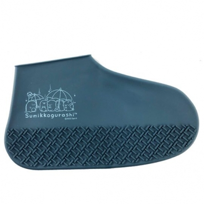 小禮堂 角落生物 攜帶型矽膠鞋套 防水鞋套 短筒雨鞋 附夾鏈袋 (深藍 撐傘)