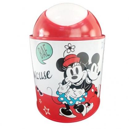 小禮堂 迪士尼 米奇米妮 圓形鐵垃圾筒 平衡蓋垃圾筒 桌上型垃圾筒 (紅白 抱抱)